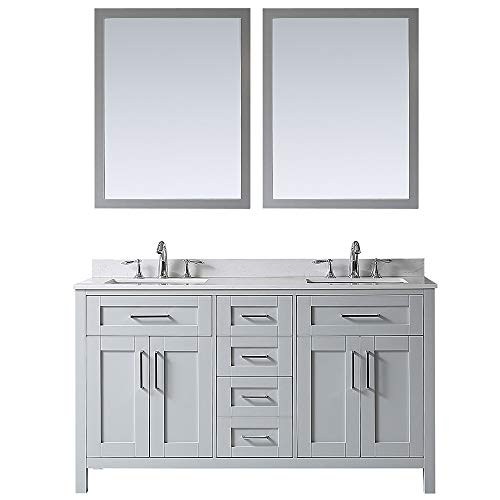 Ove Decors Maya 60 Dove Grey Double Vanity with Marble Top, Backsplash and Two Mirrors, 60 inches,