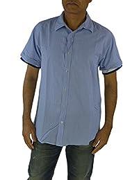 SCOTCH & SODA Mens Short Sleeve Pin Stripe Shirt Blue Large TRIM FIT