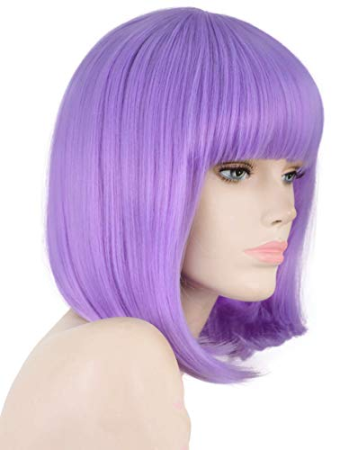 Neon Purple Wig (Annivia Lavender Purple Short Bob Wig for Women 12'' Heat Resistant Synthetic Straight Wigs with Bangs Halloween Cosplay Party Wig Natural As Real Hair Lavender Purple Wig for Women (Lavender)