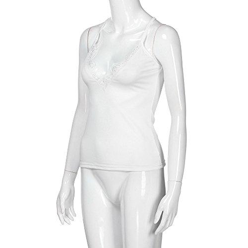 Dainzuy Deep V Neck Tank Tops Sleeveless Lace Mini Vest Sexy Camisole Spaghetti Strap Tank Blouse foe Women Teen Girls White by Dainzuy Women Tops (Image #4)