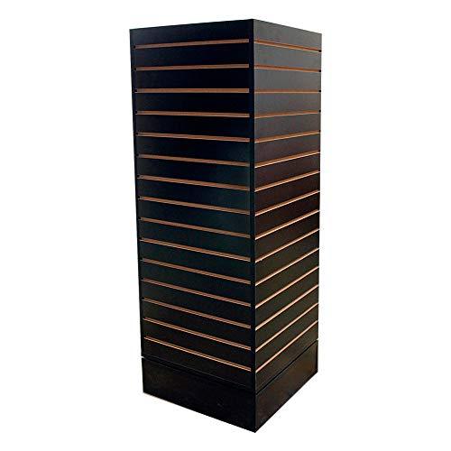 - MH GLOBAL Revolving Slatwall Floor Display Rotating Cube Tower 4 Sided Retail Fixture - Black
