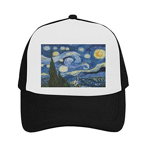 The Starry Night by Vincent Van Gogh Classic Vintage Mesh Trucker Cap Baseball Hat Black ()