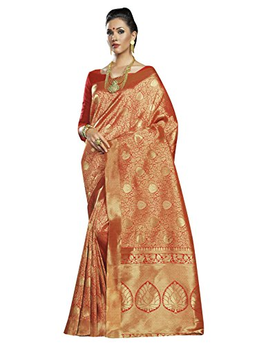 Designer Sarees Woven Work Banarasi Silk Saree for women With Unstitched Blouse Piece (Red 2) (Piece Georgette Two Dress)
