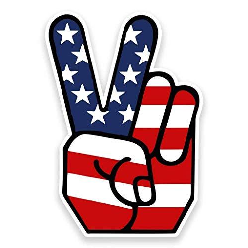 American Flag Peace Hand Vinyl Sticker Decal Laptop Car Bumper Sticker Travel Luggage Car iPad Sign Fun 5