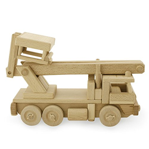 Handcrafted Large Wooden Fire Truck With Bucket Lift - Pretend Play Construction Building Montessori Toy (Handmade in Europe)