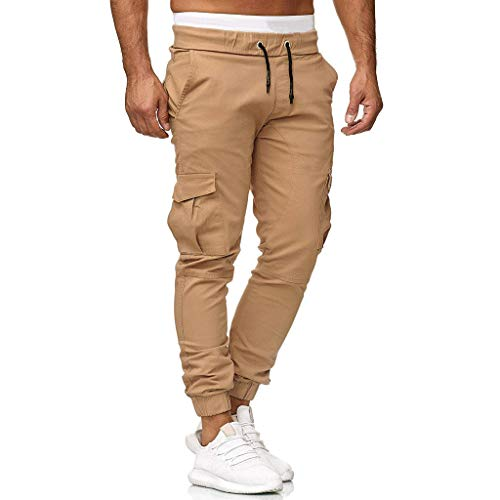 Men's Cargo Pants Slim Fit Casual Jogger Pant Chino Trousers Sweatpants Gym Workout Running Hiking Sweatpants Khaki ()
