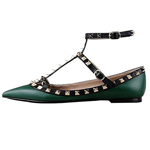 Confortable Pointu Orteil Rockstud Appartements Strappy Ballerine Chaussures Vert Foncé
