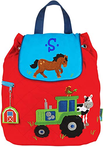 Monogrammed Stephen Joseph Boy Farm Tractor Quilted Backpack, with Blue Embroidered Initial S