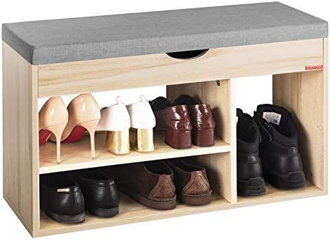 Mr IRONSTONE Shoes Bench Boot Organizing Upholstered Shoe Rack Entryway Storage