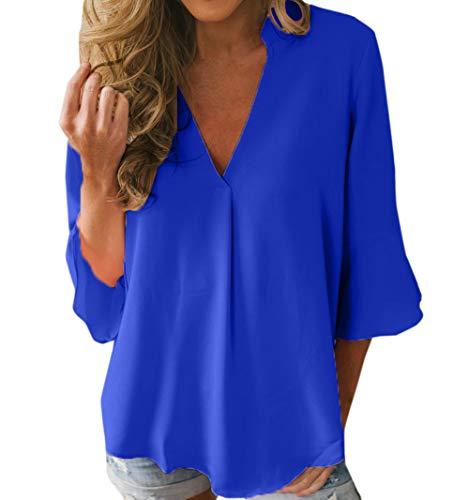Monika Camicie V Maniche Tops Tee Autunno Collo T Donne e Casual 4 Tinta Blu 3 Moda Unita Bluse Primavera Maglietta Sciolto Shirts r8wYBqfHr