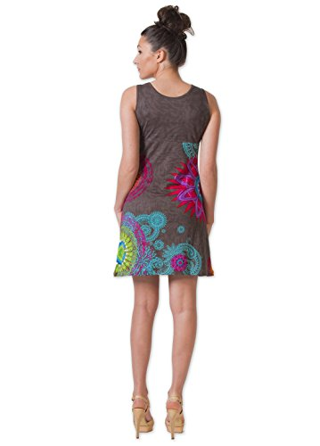 Coton Du Monde-vestido MARTHA 2, color Gris Multicolor