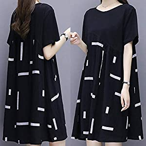 Celucke Casual T Shirt Dress for Women, Vintage Loose Fit Round Neck Floral Print Short Sleeve Tunic Tops Mini Dresses