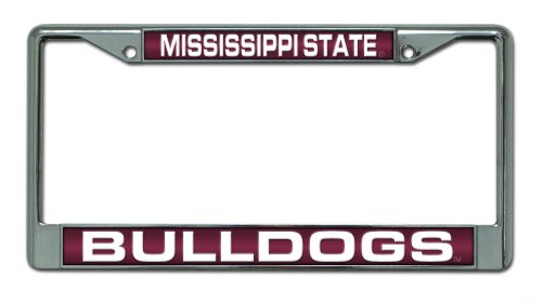 Rico Industries NCAA Mississippi State Bulldogs Laser Cut Inlaid Standard Chrome License Plate -