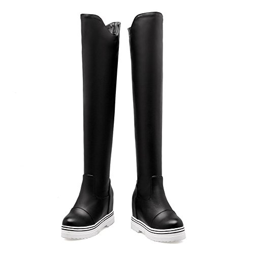 Solid Black on Pull Allhqfashion Closed High Toe Women's Boots PU Heels Round 6wUfBqx