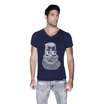 Creo Beard Pipe Retro T-Shirt For Men - L, Navy Blue