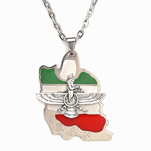 Iran Flag Map Faravahar Necklace Iranian Persian Zoroastrian Farvahar Persia Chain (Leather String)