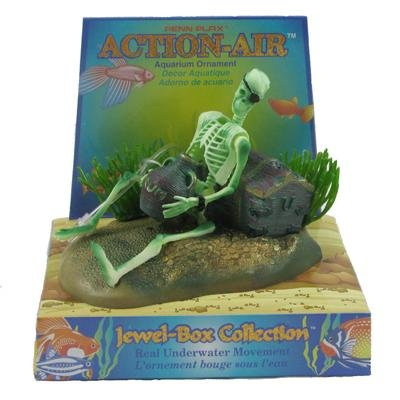 Pen Plax 085 Action Air Pirate Skeleton with Jug & Treasure Chest Live-Action Aerating Aquarium Ornament by Pen Plax