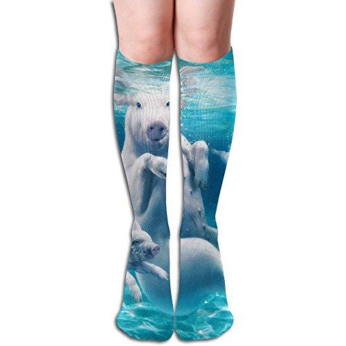 ZHONGJIAN Unisex Knee High Long Socks Funny Pig Swimming.PNG Soccer Tube Sock Length 50cm (White Ball Christmas Png)