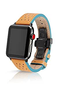 42/44mm JUUK Sand Viteza Premium Watch Band Made for The Apple Watch, Made with Genuine Italian Leather with a Solid Stainless Steel deployant Buckle ...