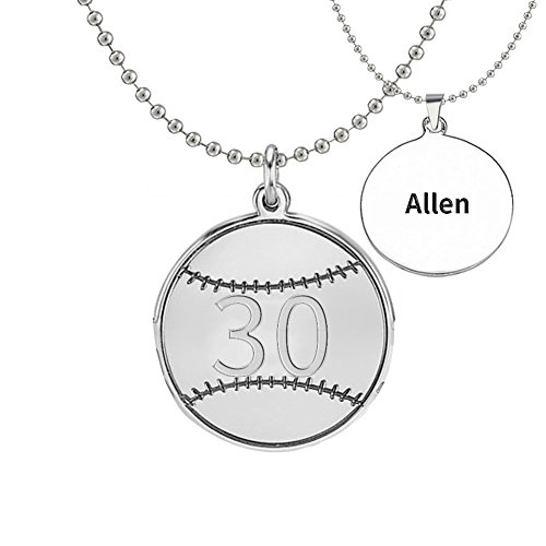 (Ouslier Personalized 925 Sterling Silver Number Baseball Pendant Name Necklace Custom Made with Any Names (Men:2.32.3cm))