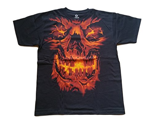 Liquid Blue Skull in Flames T-Shirt Large
