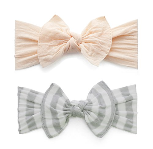 Baby Bling Bow 2 Pack: Patterned Stripe and Classic Knot Girls Baby Headbands - MADE IN USA