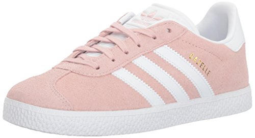 Price comparison product image adidas Originals Girls' Gazelle J Sneaker, Ice Pink/White/Metallic Gold, 7 Medium US Big Kid