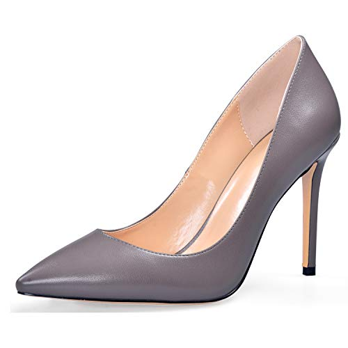 YODEKS Women's Closed Toe High Heel Shoes Cosy Matt Leather Pumps 10CM Gray Shoes US8.5 ()
