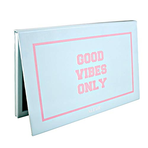 Empty Palette - Magnetic Large Empty Makeup Palette w Mirror for Depotting with 10 pcs Metal Stickers for Non Magnetized Pans. Custom DIY Good Vibes Only Blue Depot Palette for Cosmetic Eyeshadows, Blush by Altair