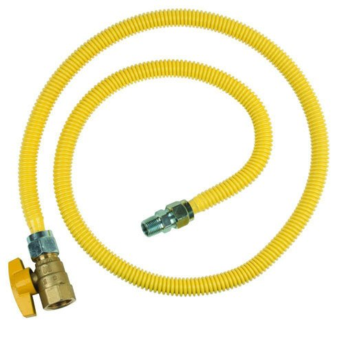 """48/"""" Yellow Coated Stainless Steel 3//4/"""" MIP x 3//4/"""" FIP 1/"""" OD gas Flex Connector"""