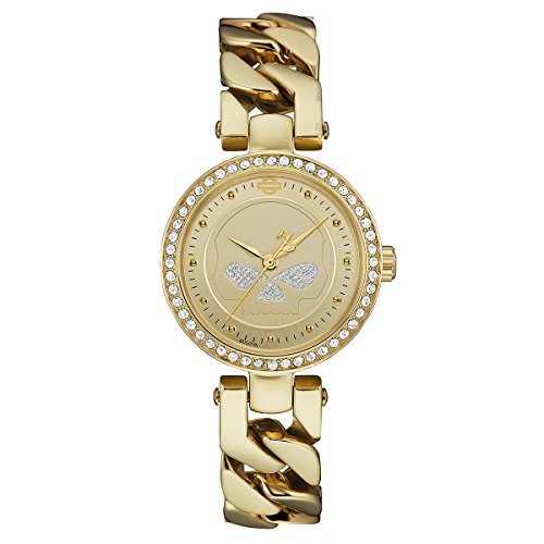 Harley-Davidson Womens Gold Tone Willie G Skull with Crystals Gold Watch