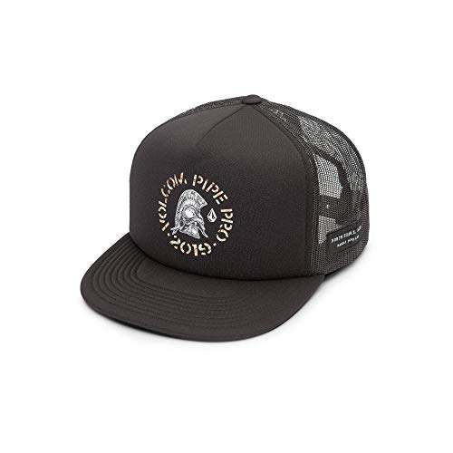 Volcom Men's Pipe Pro Helmet 5 Panel Snap Back Cheese Hat, Black, ONE Size FITS All (5 Panel Skateboard Hats)