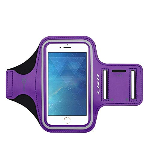 J&D Armband Compatible for iPhone 8 Plus Armband, Sports Armband with Key Holder Slot for Apple iPhone 8 Plus Running Armband, Perfect Earphone Connection While Workout - Purple