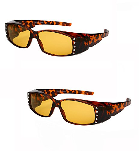 2 Pair of Night Driving Polarized Fitover Sunglasses with Rhinestones - Computer Glasses - Help Computers With Glasses That