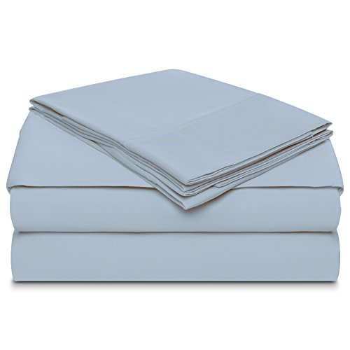 "Bolboms 800 Thread Count 6 Piece MARROWING Sheet Sets 100% Long Staple Soft Egyptian Quality Cotton with 15"" Deep Pockets, Queen, Smooth and Soft Sateen Weave, Luxury Hotel Collection, Blue Fog"