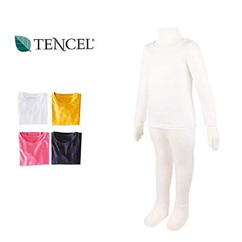 BETTER4BABIES Children's Soft & Light Tencel Underwear Innerwear Long Johns Top & Bottom Set (3~4Y, White)