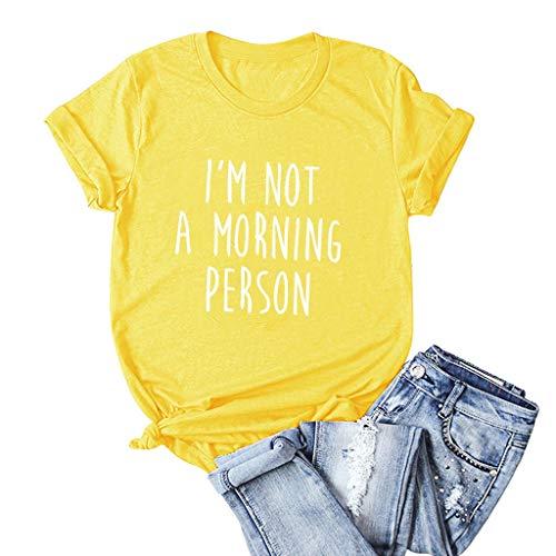 LuluZanm Letter Print T-Shirt for Women Sale Ladies Fashion O-Neck Short Sleeve Blouses Basic Summer Tops Plus S-5XL (Sunglasses I Wear Should What)