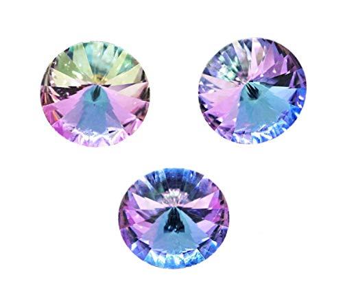 4pcs Vitrail Light Blue Purple Silver Half Izabaro Rivoli Crystals Czech Glass Stone Chatons Rhinestones 14mm ()