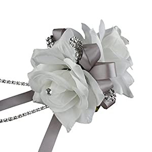 Angel Isabella Double White Roses Wrist Corsage for Prom, Party, Wedding 101