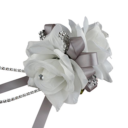 Double White Roses Wrist Corsage for Prom, Party, Wedding (Wrist Corsage Prom)