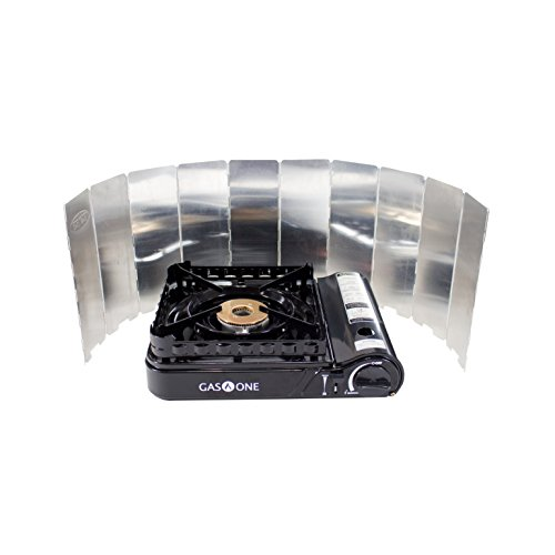 Gas ONE GS-3900P Brass Head Burner with Dual Spiral Flame 15,000 BTU Portable Gas Stove with Heavy Duty Clear Carrying Case (Stove + Windscreen)