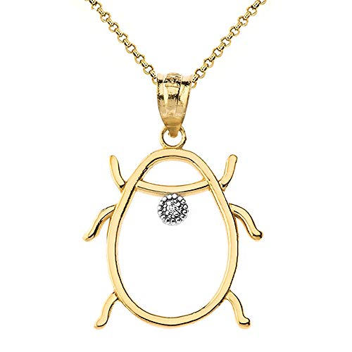 Fashion 14k Yellow Gold Diamond Ladybug Outline Insect Charm Pendant Necklace, 22