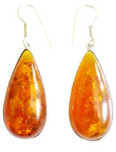 [HANDMADE FASHION DANGLE EARRINGS AMBER GEMSTONE EARRINGS FOR WOMEN BY TIBETAN SILVER] (Tiffany Blue Costume Jewelry)