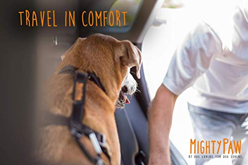 Mighty Paw Safety Belt, Dog Seat Belt, Latch Bar Attachment for Optimal Safety and Security, All Metal Hardware, Tangle-Free Swivel Attachment, Carabiner, Adjustable Length. (Black)