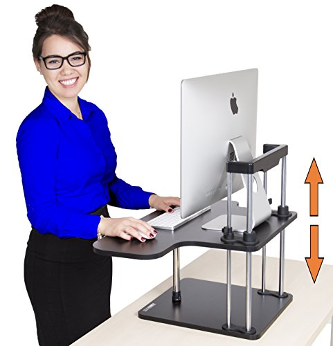 Stand Steady UpTrak Standing Desk - Instantly Convert Any Surface to a Stand Up Workstation - Perfect Standing Desk for Cubicles! Easily adjust to Sit or Stand in Seconds! (Single Level - Black) by Stand Steady