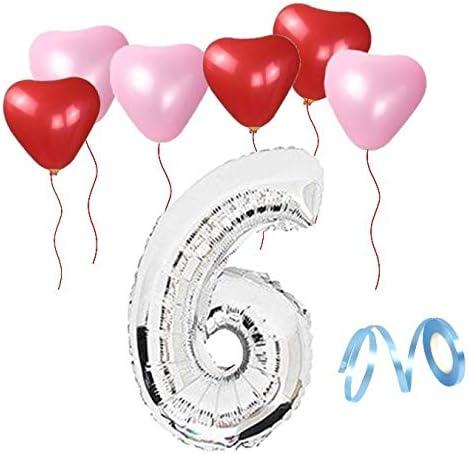 6歳 誕生日 風船 バルーン 誕生日パーティー ハート型風船 飾り付け シルバー 数字(6) 天然ゴム 風船セット(x1-x06)