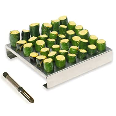 King Kooker 36JR Stainless-Steel 36-Hole Jalapeno Rack with Corer
