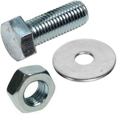 Zinc Plated x 100 Quantity Nut /& Washer Set M10 x 16mm Hex Bolt