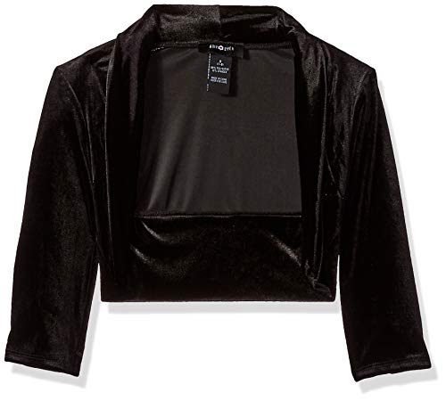 Amy Byer Girls' Big 7-16 Velvet Shrug, Black, L -