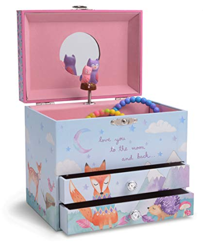 JewelKeeper Musical Jewelry Box with 2 Pullout Drawers with Spinning Owls, Woodland Design, Twinkle Twinkle Little Star Tune ()